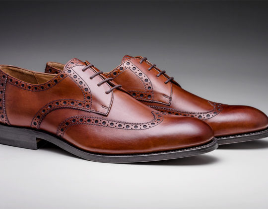 MDM Moral Code shoes, style The Holden Wingtip , color Cognac, 3/4 view of pair.