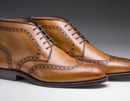 MDM Moral Code shoes, style The Reed High Top Wingtip , color Oak, 3/4 view of pair.