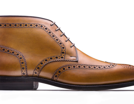 MDM Moral Code shoes, style The Reed High Top Wingtip , color Oak, profile view.
