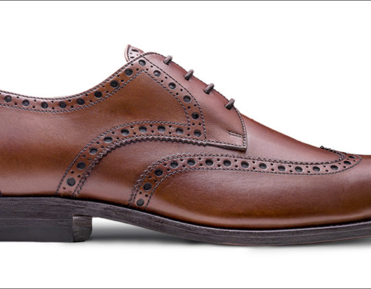 MDM Moral Code shoes, style The Holden Wingtip , color Cognac, profile view.