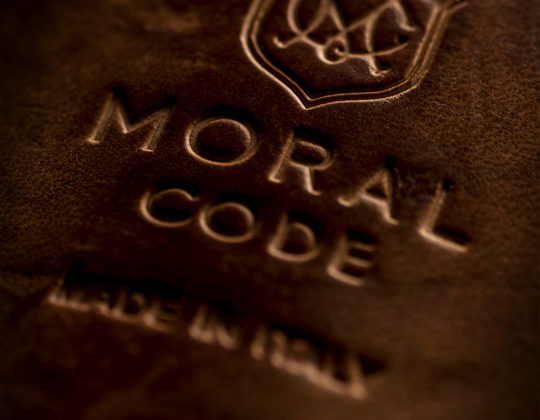 MDM Moral Code shoes, detail of logo on shoe sole.