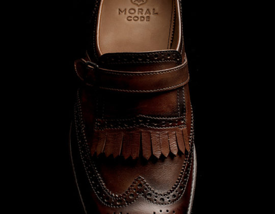 MDM Moral Code shoes, overhead image, style Packers, color Brandy.